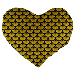 Scales3 Black Marble & Yellow Denim Large 19  Premium Heart Shape Cushions by trendistuff