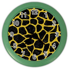 Skin1 Black Marble & Yellow Denim Color Wall Clocks by trendistuff