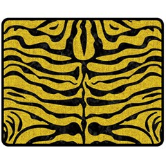 Skin2 Black Marble & Yellow Denim Double Sided Fleece Blanket (medium)  by trendistuff
