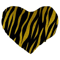 Skin3 Black Marble & Yellow Denim (r) Large 19  Premium Heart Shape Cushions by trendistuff