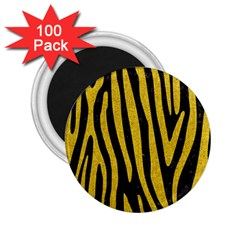 Skin4 Black Marble & Yellow Denim 2 25  Magnets (100 Pack)  by trendistuff
