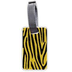 Skin4 Black Marble & Yellow Denim (r) Luggage Tags (two Sides) by trendistuff