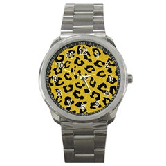 Skin5 Black Marble & Yellow Denim (r) Sport Metal Watch by trendistuff
