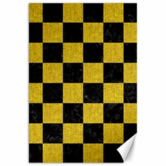 Square1 Black Marble & Yellow Denim Canvas 20  X 30   by trendistuff