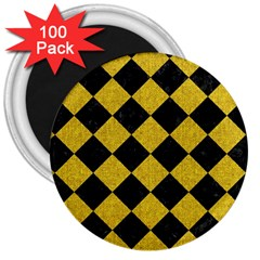 Square2 Black Marble & Yellow Denim 3  Magnets (100 Pack) by trendistuff