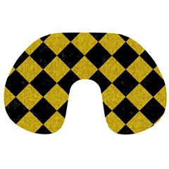 Square2 Black Marble & Yellow Denim Travel Neck Pillows by trendistuff