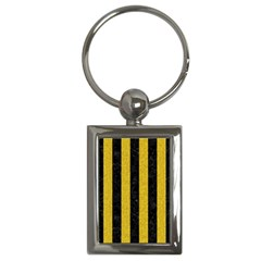 Stripes1 Black Marble & Yellow Denim Key Chains (rectangle)  by trendistuff