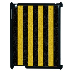 Stripes1 Black Marble & Yellow Denim Apple Ipad 2 Case (black) by trendistuff