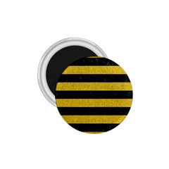 Stripes2 Black Marble & Yellow Denim 1 75  Magnets by trendistuff