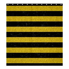 Stripes2 Black Marble & Yellow Denim Shower Curtain 66  X 72  (large)  by trendistuff