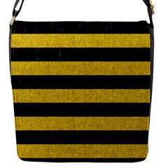 Stripes2 Black Marble & Yellow Denim Flap Messenger Bag (s)