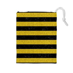 Stripes2 Black Marble & Yellow Denim Drawstring Pouches (large)  by trendistuff