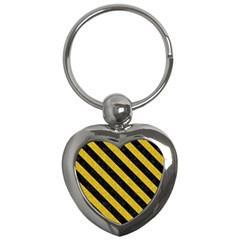 Stripes3 Black Marble & Yellow Denim Key Chains (heart)  by trendistuff
