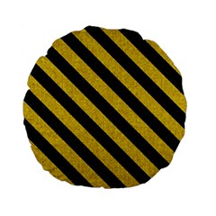 Stripes3 Black Marble & Yellow Denim Standard 15  Premium Flano Round Cushions by trendistuff