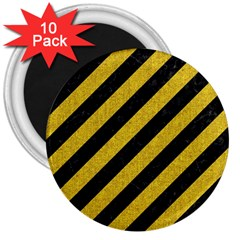 Stripes3 Black Marble & Yellow Denim (r) 3  Magnets (10 Pack)  by trendistuff