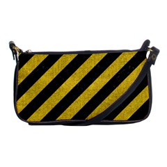 Stripes3 Black Marble & Yellow Denim (r) Shoulder Clutch Bags by trendistuff