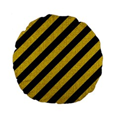 Stripes3 Black Marble & Yellow Denim (r) Standard 15  Premium Flano Round Cushions by trendistuff