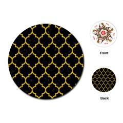 Tile1 Black Marble & Yellow Denim (r) Playing Cards (round)  by trendistuff