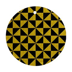 Triangle1 Black Marble & Yellow Denim Round Ornament (two Sides) by trendistuff