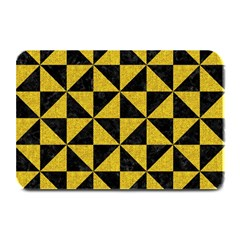 Triangle1 Black Marble & Yellow Denim Plate Mats by trendistuff