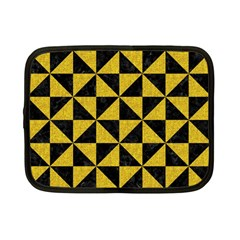 Triangle1 Black Marble & Yellow Denim Netbook Case (small)  by trendistuff