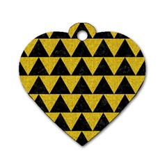 Triangle2 Black Marble & Yellow Denim Dog Tag Heart (one Side) by trendistuff