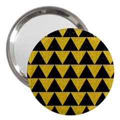 Triangle2 Black Marble & Yellow Denim 3  Handbag Mirrors by trendistuff