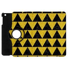 Triangle2 Black Marble & Yellow Denim Apple Ipad Mini Flip 360 Case by trendistuff