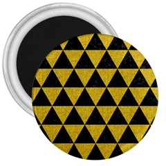 Triangle3 Black Marble & Yellow Denim 3  Magnets by trendistuff