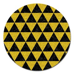 Triangle3 Black Marble & Yellow Denim Magnet 5  (round) by trendistuff