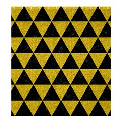 Triangle3 Black Marble & Yellow Denim Shower Curtain 66  X 72  (large)  by trendistuff