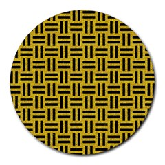 Woven1 Black Marble & Yellow Denim Round Mousepads by trendistuff