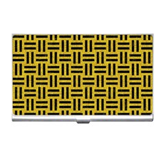 Woven1 Black Marble & Yellow Denim Business Card Holders by trendistuff