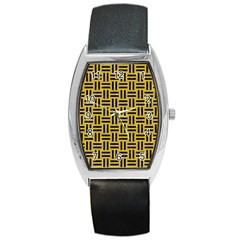 Woven1 Black Marble & Yellow Denim Barrel Style Metal Watch by trendistuff