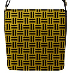 Woven1 Black Marble & Yellow Denim Flap Messenger Bag (s) by trendistuff
