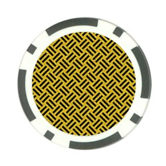 Woven2 Black Marble & Yellow Denim Poker Chip Card Guard (10 Pack) by trendistuff