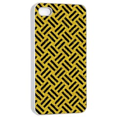 Woven2 Black Marble & Yellow Denim Apple Iphone 4/4s Seamless Case (white) by trendistuff