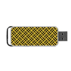 Woven2 Black Marble & Yellow Denim Portable Usb Flash (two Sides) by trendistuff