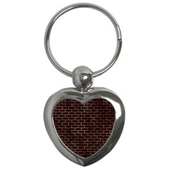 Brick1 Black Marble & Copper Paint (r) Key Chains (heart)  by trendistuff