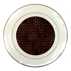 Brick1 Black Marble & Copper Paint (r) Porcelain Plates by trendistuff