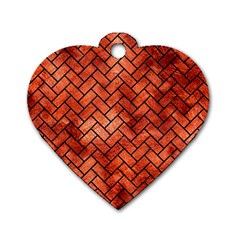 Brick2 Black Marble & Copper Paint Dog Tag Heart (one Side) by trendistuff