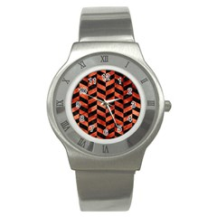 Chevron1 Black Marble & Copper Paint Stainless Steel Watch by trendistuff