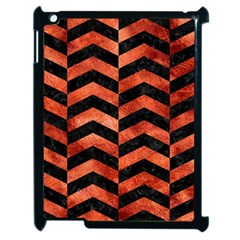 Chevron2 Black Marble & Copper Paint Apple Ipad 2 Case (black) by trendistuff