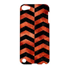Chevron2 Black Marble & Copper Paint Apple Ipod Touch 5 Hardshell Case by trendistuff