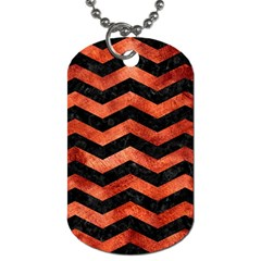 Chevron3 Black Marble & Copper Paint Dog Tag (two Sides) by trendistuff