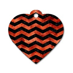 Chevron3 Black Marble & Copper Paint Dog Tag Heart (one Side) by trendistuff