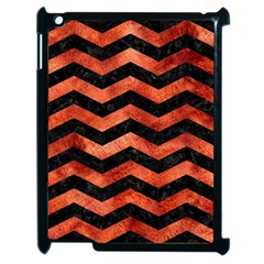 Chevron3 Black Marble & Copper Paint Apple Ipad 2 Case (black) by trendistuff