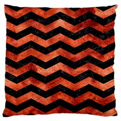 Chevron3 Black Marble & Copper Paint Large Flano Cushion Case (one Side) by trendistuff