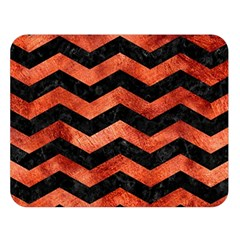 Chevron3 Black Marble & Copper Paint Double Sided Flano Blanket (large)  by trendistuff