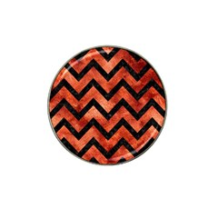 Chevron9 Black Marble & Copper Paint Hat Clip Ball Marker by trendistuff